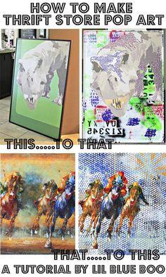 How to Make Altered Thrift Store Pop Art via lilblueboo.com