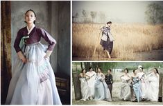 Korean Wedding Inspiration. Bride in a traditional Hanbok. Bridal party in modern Hanboks with influences from traditional Korean culture