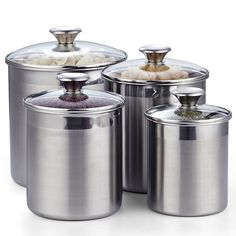 Stainless Steel Canisters, Stainless Kitchen, Kitchen Canisters, Kitchen Utensils, Black Granite, Canister Sets, Food Storage Containers, Kitchen Countertops, Kitchen Gadgets