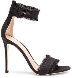 Gianvito Rossi Denim Lola Heels - Dark black denim heels with frayed edges Stiletto Pumps, High Heel Pumps, Pumps Heels, Denim Pumps, Denim Boots, Strappy Shoes, Ankle Strap Sandals, Heeled Sandals, Work Pumps