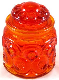 L.E. Smith Glass Amberina MOON & STARS JAR Canister Container vintage Red Orange