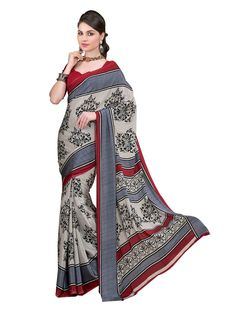 Crepe #Silk #Printed Grey & #Red Saree - #bride #bridal party #brides maids #StayTrendyWithIndiaRush
