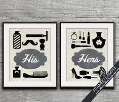 His and Hers Bathroom Prints  Set of 2  8x10 by KITCHENBATHPRINTS, $29.90