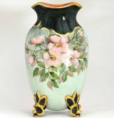 LIMOGES HAND PAINTED ROSES VASE