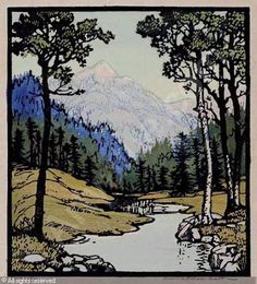 """Serenity"" by Frances Hammell Gearhart, 1920 Landscape Art, Landscape Paintings, Linocut Prints, Art Prints, Block Prints, Linoleum Block Printing, Art Asiatique, Wood Engraving, Arts And Crafts Movement"