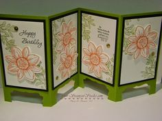 I made this fun card at a shoe box swap while back. It's so much easier than it looks. The card stock is cut 5 1/2″ x 11″ and is scored at 2 3/4″, 5 1/2″ and 8 1/4″. The bottom of each panel is created by punching out… Continue reading