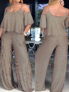 Coffee-White Striped Cut Out Pockets Spaghetti Strap Casual Wide Leg Long Jumpsuit Chic Outfits, Fashion Outfits, Women's Fashion, Party Outfits, Fall Outfits, Fashion Online, Fashion Ideas, Fringe Bikinis, Straight Cut Pants