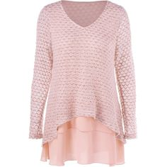 Layered V Neck Sweater ❤ liked on Polyvore featuring tops, sweaters, pink top, pink v neck sweater, pink sweater, layered tops and layered sweater