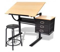 Justerbart Tegnebord med 3 Skuffer og Stol