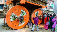 Rato Machhindranath jatra 2073 in Lalitpur, Nepal on Thursday May 19th, 2016. On this day it was pulled exclusively by women. This chariot festival is celebrated just before the monsoon, hoping the city will get plenty of rainfall for good harvests.