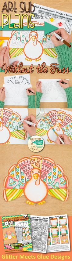 Design a Turkey   Thanksgiving Art Projects for Kids   Why stress planning fun, engaging art activities when you can download them instantly? No more scrambling and prep work! Post it on your Autumn bulletin boards or leave it with a sub.