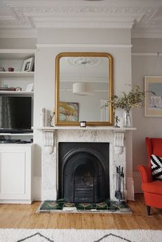 Victorian living room - farrow and ball ammonite - fireplace
