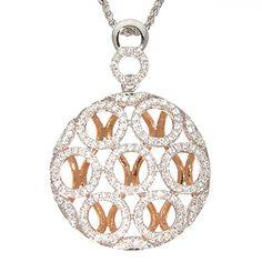 "50% OFF White and Rose Gold Diamond Pendant - 18k white and rose gold .65ctw diamond circle pendant with an 18"" diamond cut spiga chain."