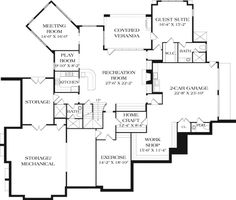 Rustic Mountain Home Plan With 2 Kitchens - floor plan - Basement Basement Plans, Basement Stair, I Love House, Mountain House Plans, Garage Interior, Monster House Plans, Craftsman Style House Plans, Architectural Design House Plans, Fireplace Wall