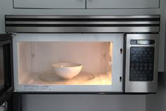 Microwave Cleaning Hack: Bowl of water and white vinegar, boil. Wipe inside oven. Then use baking soda on a sponge to get off any splatters that are left inside.