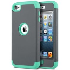 ULAK [ 3in1 Hybrid F Style] Shockproof Case for Apple iPod Touch 5 6th Generation Hybrid Protective Silicon Cover_2015 Released (Dark Grey+Green)