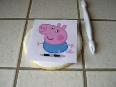 With a pointed tool, but not sharp, traced the outline: Peppa Pig Birthday Cake, 2nd Birthday, Peppa Pug, Pig Cupcakes, Cookie Box, Pugs, Hello Kitty, Lunch Box, Cookies