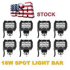 AMAZON Premium 8x18w 18W Spot Beam 8 Degree Off Road Cree 18w LED Work Light Bar 4wd Boat UTE Driving ATV Car, 12 1/4