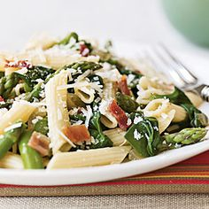 Penne with Asparagus, Spinach, and Bacon.
