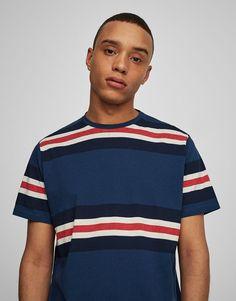 Striped panels T-shirt - T-shirts - Clothing - Man - PULL&BEAR United Kingdom