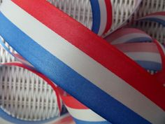 VINTAGE OLD SCHOOL AMERICANA RED WHITE AND BLUE 4TH OF JULY RIBBON 48 YARDS!!!