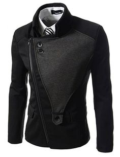 TheLees (DJK21) Mens Casual Rider Style Stretchy Slim Zipper Jacket Jumper Charcoal US XS(Tag size M)