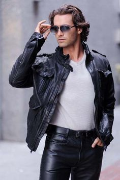 Hot guy in black leather chaps and a black biker leather jackethttp://liamhubpages.hubpages.com/hub/Best-Leather-Pants-for-Men-2013