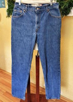 Levis 550 12 Long Classic Relaxed Jeans Blue Straight Frayed Hem Cuts Mom Jeans #Levis #RelaxedStraightLeg