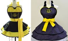 1st one: Retro Apron - Batgirl Sexy Womans Aprons - Vintage Apron…In Stock • $78 Etsy by bambinoamore on Etsy; 2nd one: Made to Order- Batman Apron In Stock • $76 Etsy by OliviasStudio on Etsy;