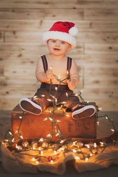 Baby James 1 year photo session Love everything about this picture the suspenders the Santa hat and the strand of lights It definitely says Merry Xmas Photos, Family Christmas Pictures, Holiday Pictures, Holiday Photography, Baby Boy Photography, Children Photography, Christmas Photography Kids, Underwater Photography, Image Photography