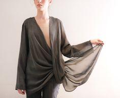 Gray Women Shirt,  Clothing,  Women Shrug Modern Long Sleeve. $54.00, via Etsy.