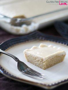 Gluten-Free Vegan White Texas Sheet Cake {Refined Sugar-Free} sub grain free flour Gluten Free Sweets, Gluten Free Cakes, Gluten Free Baking, Vegan Sweets, Vegan Baking, Vegan Desserts, Vegan Gluten Free, Gluten Free Recipes, Vegan Food