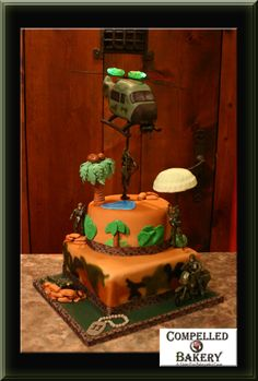 Military Fondant Cake- Helicopter with flashing lights- Rotating blades!