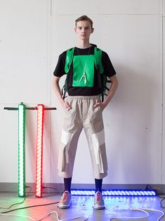 Jan Černý Fall/Winter 2018 collection was inspired by horror movies and fear. Red, green and blue colors which melt together in white light. Color Mixing, Fall Winter, Sporty, Model, Swag, Blue, Socks, Mens Fashion, Collection
