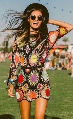 Crochet Flower Short Dress with Sleeves Boho Gypsy Clothing Festival Stil, Festival Dress, Festival Outfits, Festival Clothing, Festival Hippie, Coachella Festival, Diy Festival Clothes, Boho Chic, Hippie Chic