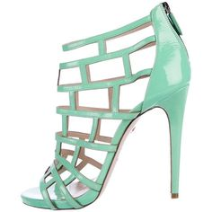 Pre-owned Ruthie Davis Patent Leather Cage Sandals ($195) ❤ liked on Polyvore featuring shoes, sandals, green, peep toe sandals, cage sandals, ruthie davis shoes, green peep toe shoes and green patent shoes