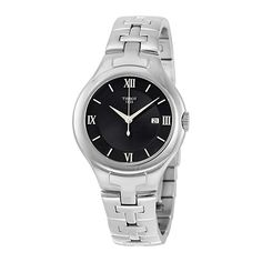 Tissot T-Trend Black Dial Stainless Steel Ladies Watch ** Check out this great product. Stainless Steel Watch, Stainless Steel Bracelet, Casio Watch, Michael Kors Watch, Jewelry Watches, Quartz, Leather, Stuff To Buy, Wrist Watches