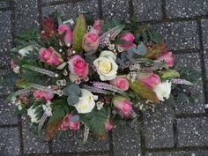 Druppel rouwstuk roze - wit