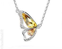 Collier aile papillon cristaux jaune