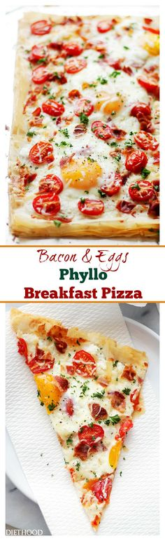 Bacon and Eggs Phyllo Breakfast Pizza | www.diethood.com | Crispy bacon, soft eggs and cherry tomatoes settled on top of phyllo sheets smothered with a seasoned feta cheese spread. Best Breakfast Pizza in TOWN! @diethood