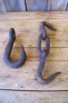 2 Antique Industrial Chain Hooks ~ Old Vintage Machine Age Hanging Wall Hardware Industrial Clocks, Machine Age, Primitive, Hooks, Hardware, Chain, Antiques, Wall, Ebay