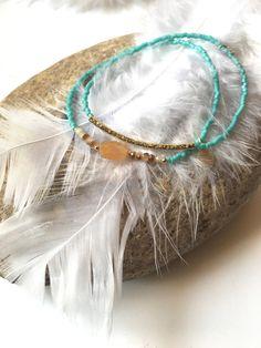 2 bracelets couleur turquoise tendance pour l'été par Ocelyane