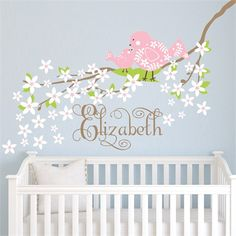 Create a sweet scene with the Baby Bird on Blossoming Branch Fabric Wall Decal from Alphabet Garden Designs.  Choose your colors to match your child's room!