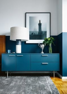 Try This: Match Furniture to Walls to Make a Room Feel Larger — Small Space Solutions (Apartment Therapy Main) Half Painted Walls, Painted Rug, Masculine Room, Small Space Solutions, Living Spaces, Living Room, Dresser As Nightstand, Of Wallpaper, Consoles