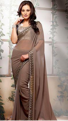 Brown saree