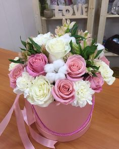 На данном изображении может находиться: цветок Rose Flower Arrangements, Tropical Floral Arrangements, Flower Shop Decor, Flower Decorations, How To Wrap Flowers, Faux Flowers, Bouquet Box, Beautiful Rose Flowers, Flower Boutique