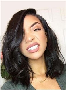 Lace Front Cap Wavy Bob Style Wigs Women 14 Inches Mid-Length Human Hair