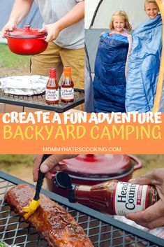 Create a fun adventure for the kids this summer with backyard camping. This post provides the perfect way to make backyard camping fun! That includes the best BBQ sauce for all that delicious campfire food! Campfire Grill, Campfire Recipes, Backyard Camping, Backyard House, Campsite, Outdoor Camping, Cookout Food, Camping Meals, Camping Tips