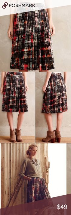 Anthropologie Fynn and Rose Abstracted Plaid Skirt NWT // never worn // multicolored with blush, sea foam green, bright rust colors // excellent condition// side zipper // pleated skirt // pockets! // 14.5 inch waist flat // 25.5 inches long Anthropologie Skirts A-Line or Full