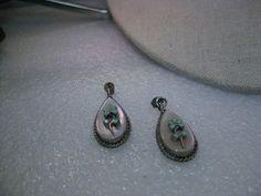 Vintage Sterling Silver Southwestern Pierced Earrings,  Floral, MOP/Turq. 1960s #believeRobertLivingstonNavajo
